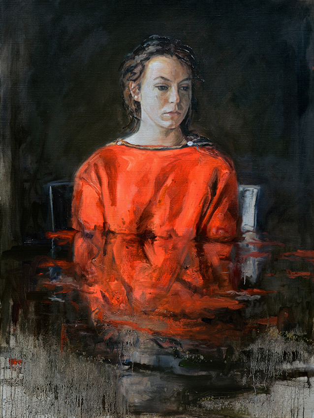 connected,herve martijn, martyn contemporarypainting,contemporaryart, flemish painter ,red cape